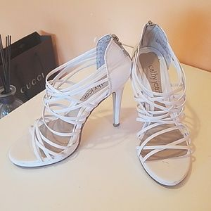 Cathy Jean white shiny strappy heels
